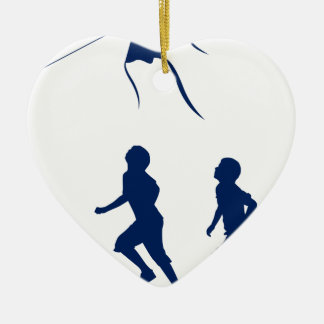Kids flying a kite. ceramic heart decoration