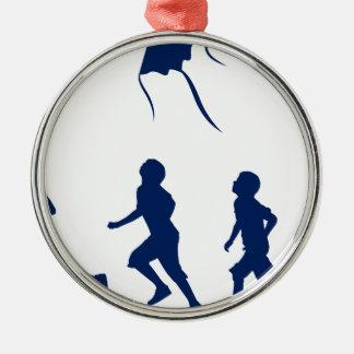 Kids flying a kite. christmas ornament