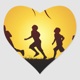 Kids flying a kite heart sticker
