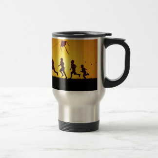 Kids flying a kite travel mug