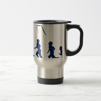 Kids flying a kite. travel mug