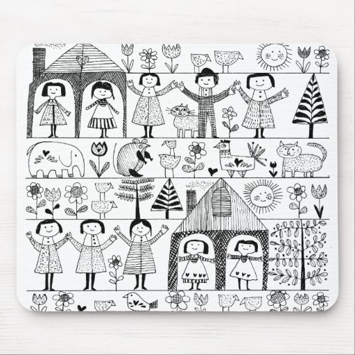 Kid's Folk Art Drawing of Children and Animals Mousepads