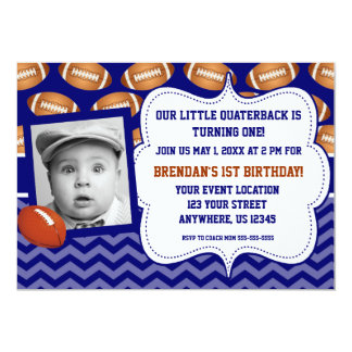 Kids Football Photo Birthday Invitation