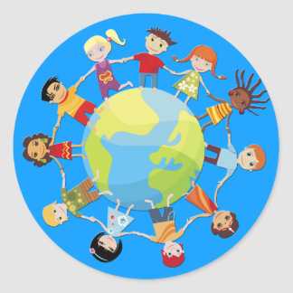 Kids for world peace round sticker