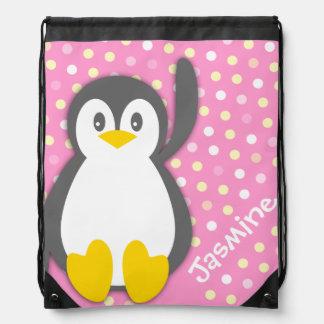 Kids friendly pink penguin name drawstring bag