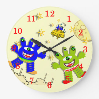 Kids Fun Cheerful  Aliens In Space Large Clock