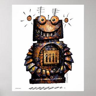 Kid's Funny Little Robot Art Poster