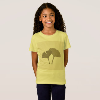 Kids Gingko hand-drawn Natural leaves  Yellow T-Shirt