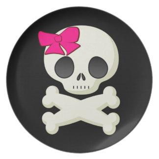 Kids Girl Skull and Crossbones Halloween Plate