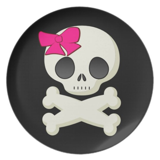 Kids Girl Skull and Crossbones Halloween Plate