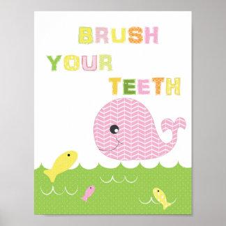 Kids girls bathroom art brush your teeth poster