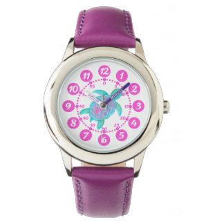 Kids girls pink & white turtle hearts wrist watch