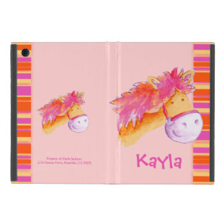 Kids girls pony pink art name ipad case