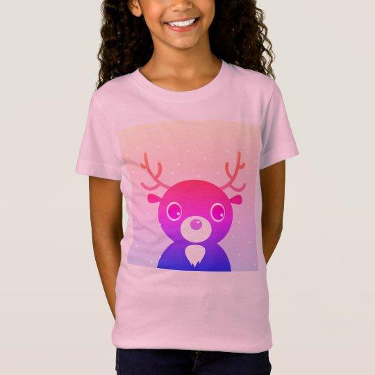 Kids girls t-shirt with purple Reindeer