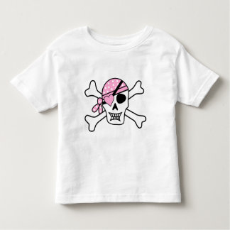 Kids Girl's Valentines Pirate Skull Heart Patch Toddler T-Shirt