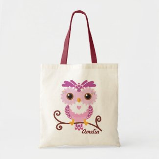 Kids Girly Pink and Purple Owl Tote Bag