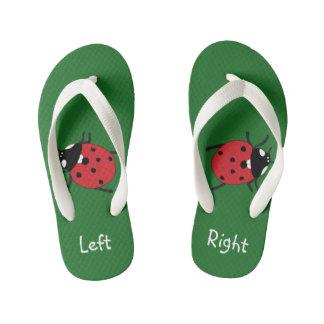 Kids Green Ladybug printed summer slippers Flip Flops