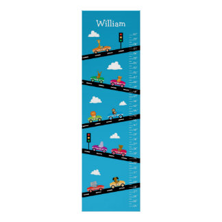 Kids Growth Chart - Animals, Cars and Numbers Poster