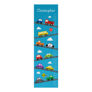 Kids Growth Chart - Cars and Trucks