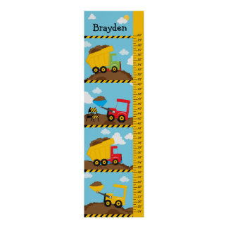 Kids Growth Construction Trucks Poster