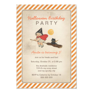 """Kids Halloween Birthday Party Cute Witch Broom Cat 5"""" X 7"""" Invitation Card"""