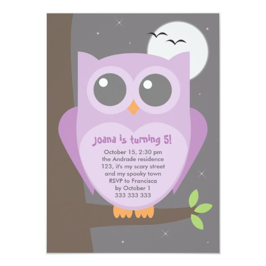 Kids Halloween Birthday Party Purple Owl Tree Card