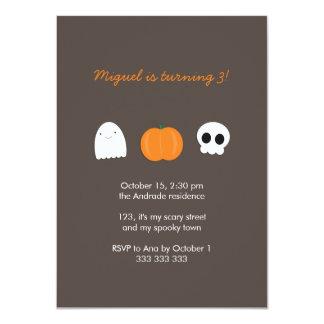 Kids Halloween Birthday Photo Skull Ghost Pumpkin 11 Cm X 16 Cm Invitation Card