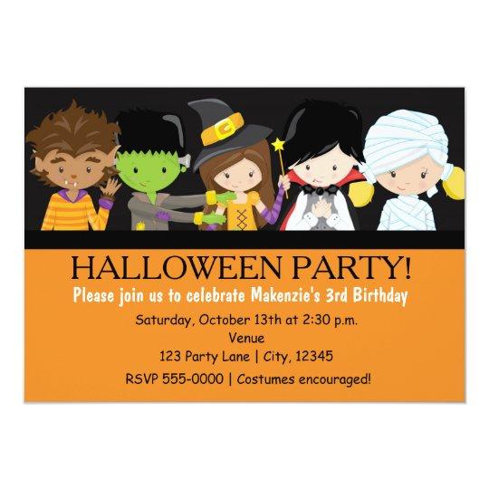 Kids Halloween Costume Birthday Party Invitation