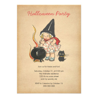 Kids Halloween Party Cute Witch s Brew Black Cat Personalized Invitations