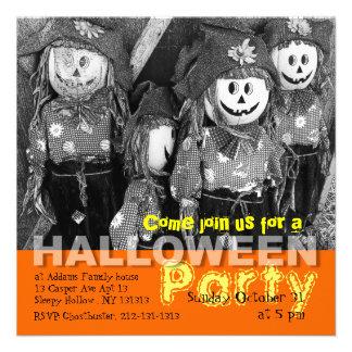 Kids Halloween Party Invitation Scarecrow