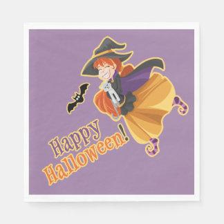 Kids Halloween Party Witch Bat Cat Moon Napkins Paper Napkin