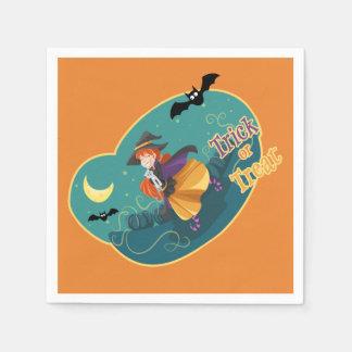 Kids Halloween Party Witch Bat Cat Moon Napkins Paper Napkins