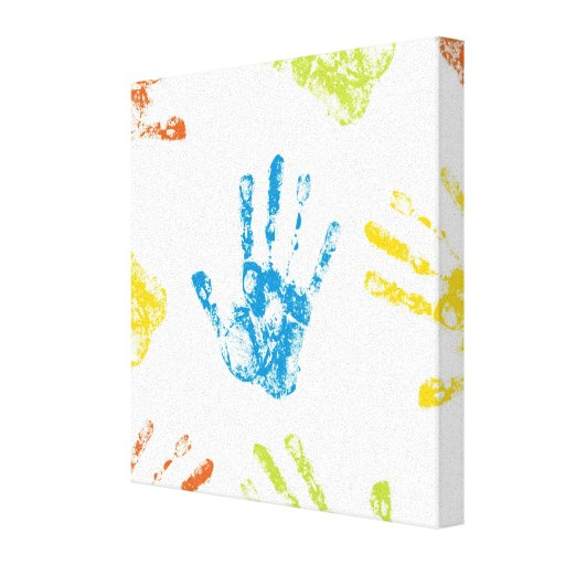 Kids Handprints Stretched Canvas Prints