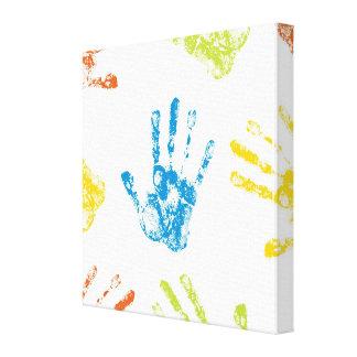 Kids Handprints Stretched Canvas Print