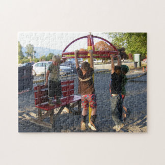 Kids Hanging from Playground Circle Puzzle