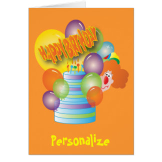 Kids Happy Birthday - Cute Clown Greeting Card