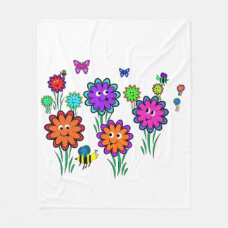 Kids Happy Flower Fleece Blanket