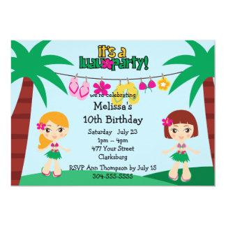 Kids Hawaiian Luau 13 Cm X 18 Cm Invitation Card