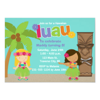 Kids Hawaiian Luau Party Card