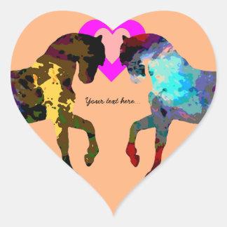 Kids Hearts And Horse On Orange Heart Sticker