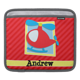 Kid's Helicopter; Scarlet Red Stripes Sleeves For iPads