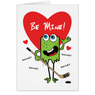 Kids Hockey Monster Valentines Card