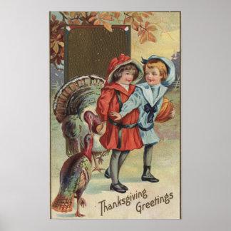 Kids Holding a Pumpkin, Turkeys Poster