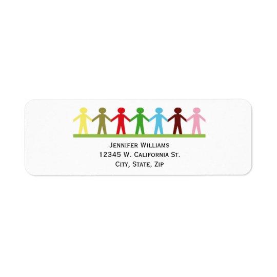 Kids Holding Hands Colourful Children United Return Address Label