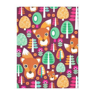 Kids home deco cute retro fox canvas canvas prints