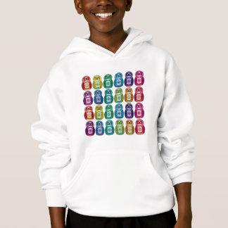 Kids Hooded Sweatshirt Cute Rainbow Matryoshka Owl