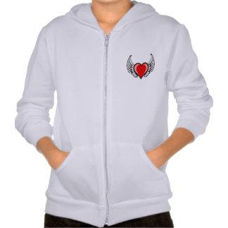 Kids' hoodie with zip and angel wings
