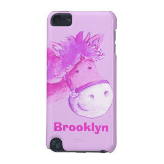 Kids horse / pony purple pink name ipod touch case