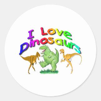 """Kids """"I Love Dinosaurs"""" gifts Round Sticker"""