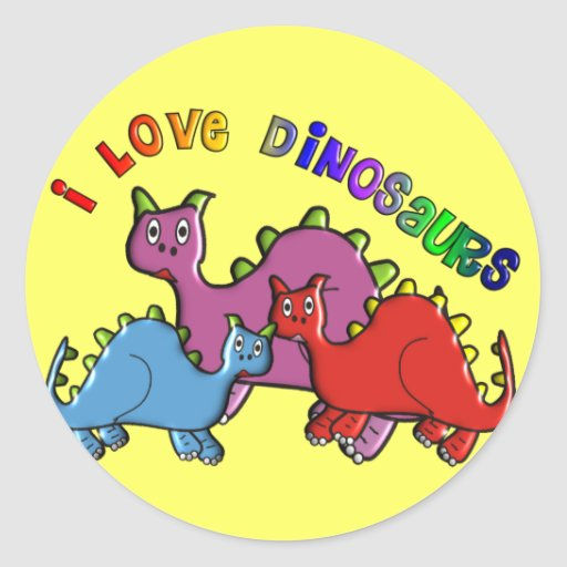 """Kids """"I Love Dinosaurs"""" T-shirts and Buttons Round Stickers"""